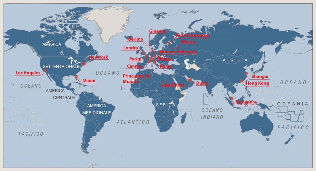 Foto mappa del mondo con i punti vendita di Rapmarbles